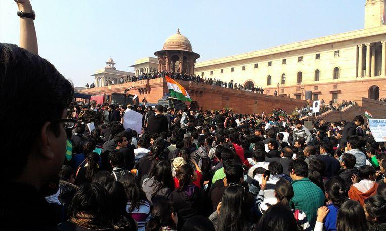 Studentenprotest Delhi na het incident. Beeld -