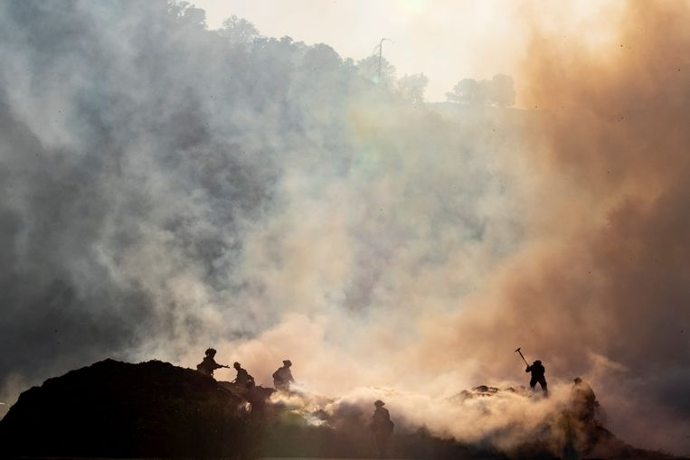 Brandweerlieden doen hun best om het vuur onder controle te krijgen tussen Sylmar and Santa Clarita in Californië. De zogeheten Saddleridge bosbrand begon vorige week donderdag ten noorden van Los Angeles. Duizenden mensen hebben hun huizen moeten ontvluchten. Beeld EPA