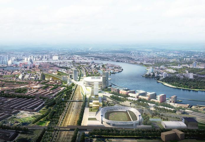 De huidige Kuip en het nieuwe stadion in één oogopslag.