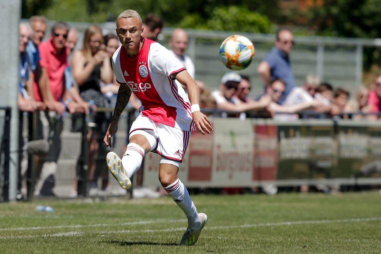 Noa Lang tijdens Ajax-Aalborg. Beeld BSR Agency