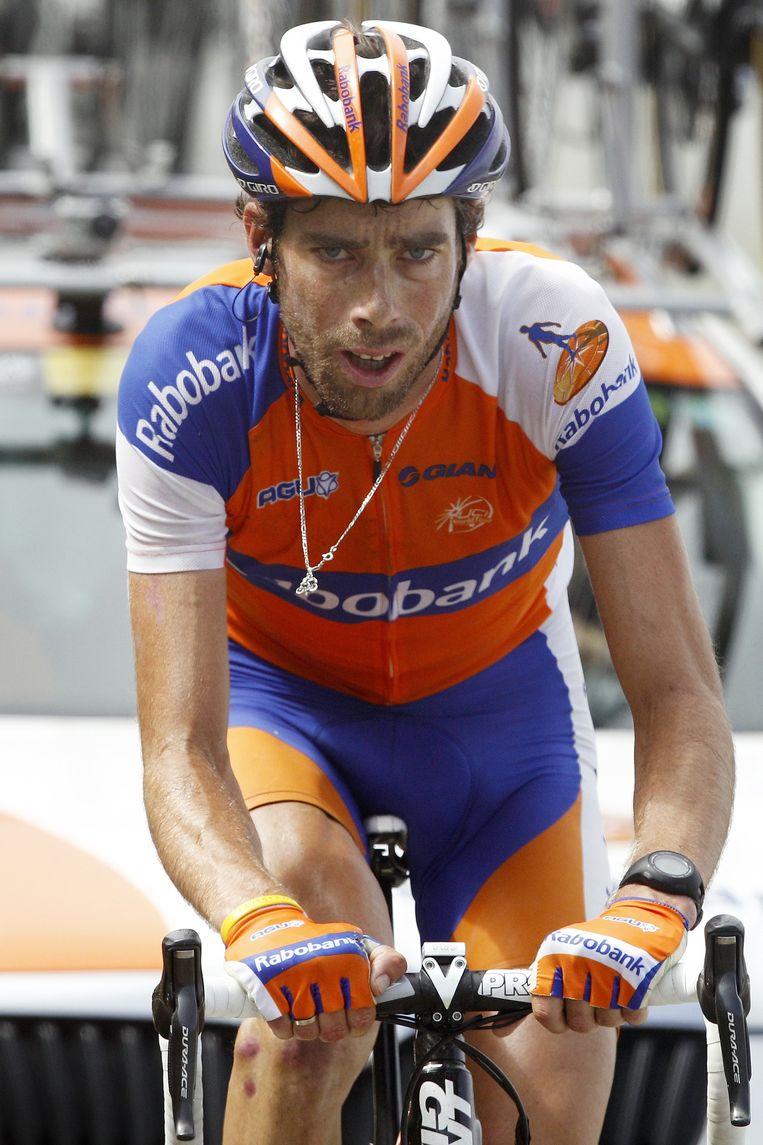 Rabobank wielrenner Laurens ten Dam in 2012 tijdens de beklimming van de Port de Bales in de 17e etappe van de Tour de France van Bagnères-de-Luchon naar Peyragudes. Beeld anp