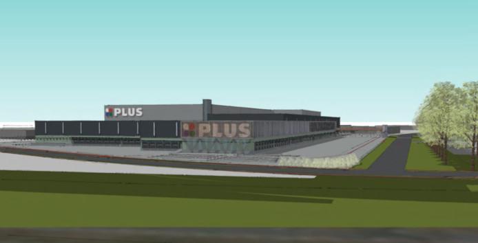 Het toekomstige distributiecentrum van PLUS op Vorstengrafdonk.