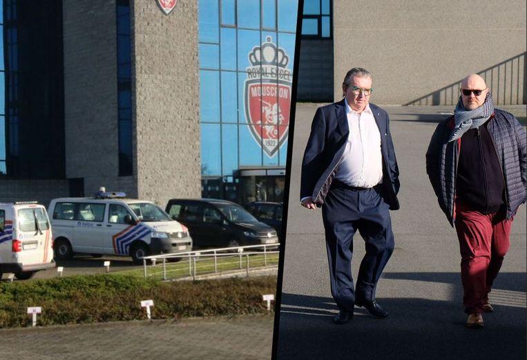 De speurders vielen vandaag binnen bij Moeskroen. Op de foto rechts herkent u links Moeskroen-voorzitter Patrick De Clerck.