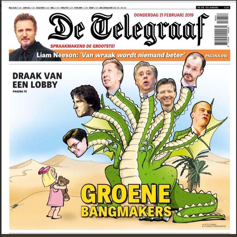 De voorpagina van De Telegraaf van donderdag. Beeld Geen
