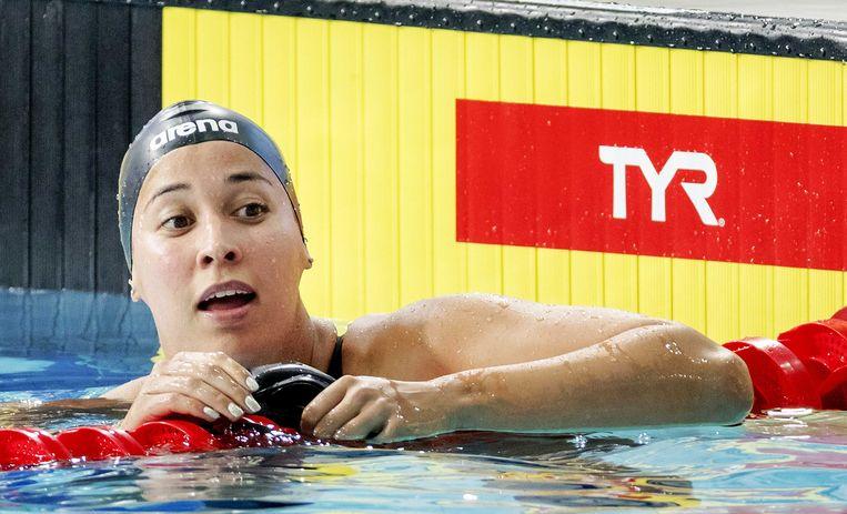 Ranomi Kromowidjojo tijdens het EK zwemmen in Glasgow. Beeld ANP