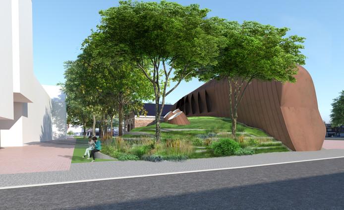 De laad- en losruimte van popzaal Mezz in Breda wordt aan de achterkant uitgebreid met een opslagruimte, die geïntegreerd wordt in het landschap door er een groene heuvel over heen aan te leggen. De beplanting zal iets ruiger worden dan op de tekening, om mensen te ontmoedigen op de heuvel te klimmen.