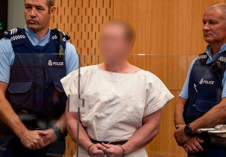Vanuit de rechtbank werden enkel foto's vrijgegeven waarop schutter Brenton Tarrant onherkenbaar is gemaakt.