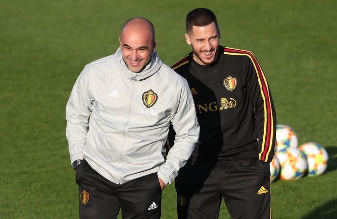 De Rode Duivels verzamelden gisteren in Tubeke om de wedstrijden tegen Rusland (overmorgen) en Cyprus (zondag) voor te bereiden. Big smiles bij Martínez en Hazard. Maar de bondscoach heeft wel degelijk zorgen.