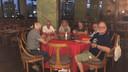 Willy Kok (m) met andere gestrande Nederlanders van de Westerdam in hun hotel in de Cambodjaanse hoofdstad Phnom Penh. Johan Kok is niet in beeld omdat hij de foto nam.