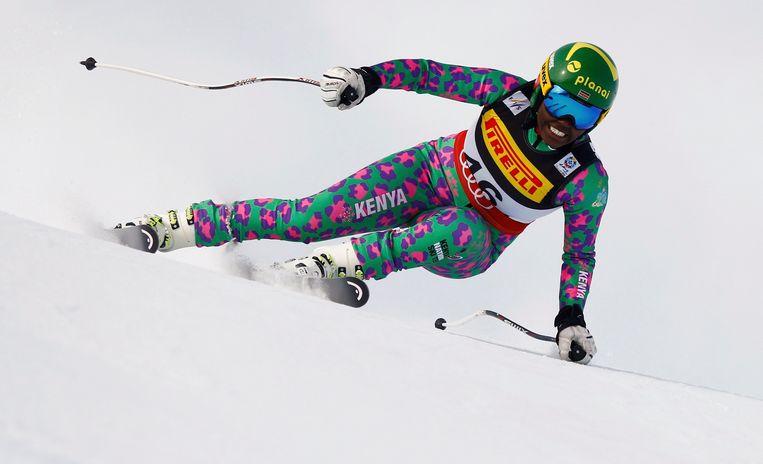 Sabrina Simader tijdens haar afdaling in Sankt Moritz. 'Ik heb ervan genoten', aldus de 18-jarige. Beeld Photo News
