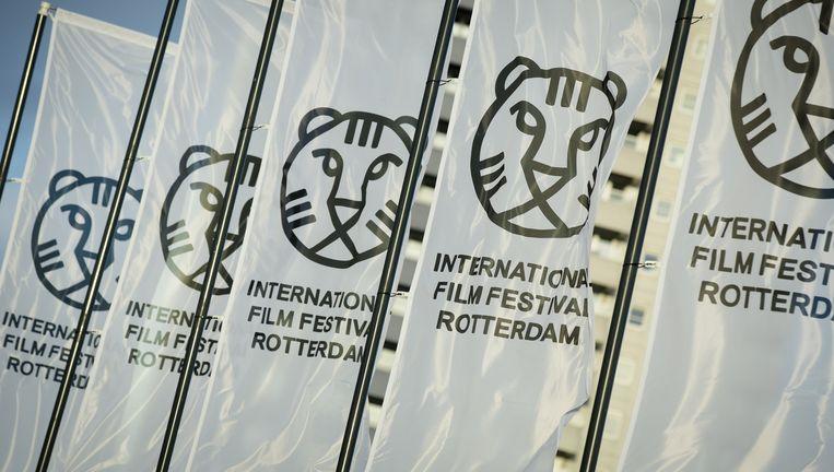 Vlaggen met het logo van het Internationaal Film Festival in Rotterdam. Beeld anp