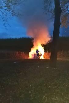 Bestuurder in brand bij autocrash en rolt door gras om vlammen te doven