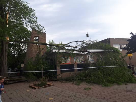 Bij basisschool Op Weg in Ooij is een tak van een boom omgewaaid en op het dak terechtgekomen.