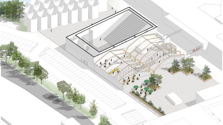 Late ommezwaai over een nieuwe Kaaihal in Den Bosch