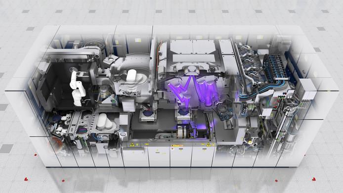 Een opengewerkte grafische weergave van de nieuwste EUV machine van ASML.
