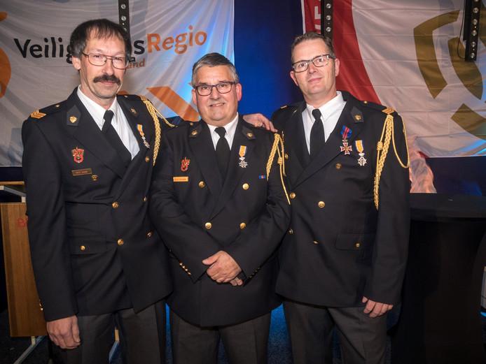 Van links naar rechts brandweermannen: Rudy Arends, Eddy Herrewegh en Alex Mandjes.