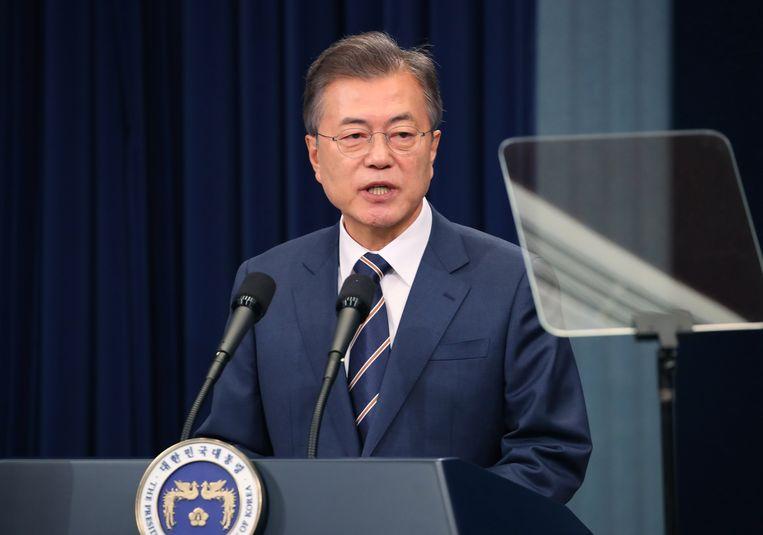 President Moon Jae-in tijdens een persconferentie in Seoul. Beeld ANP