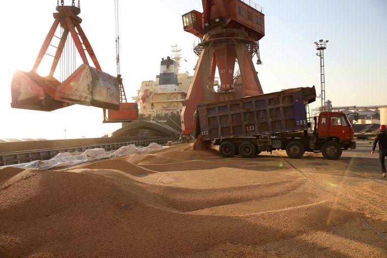 Geïmporteerde sojabonen worden overgeladen in de haven van de Chinese stad Nantong. Beeld REUTERS