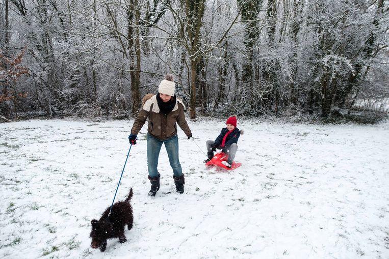 Mama Sylvia Velaers met zoontje Eden Nelissen en hondje Oscar.