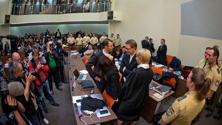 Beeld uit de rechtszaal tijdens het proces Beeld getty