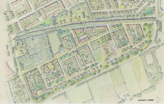 Het schetsplan van Landgoed Hooghekke in Schijndel, waar plaats ingeruimd wordt voor 250 tot 300 woningen. Stal Vermulst kijkt uit naar een andere, grotere locatie.