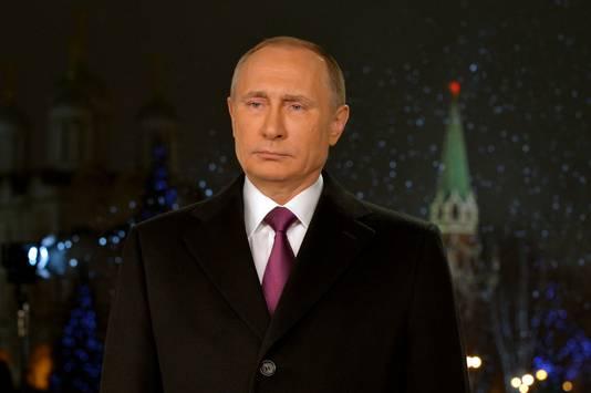 Poetin tijdens zijn nieuwjaarstoespraak in Moskou