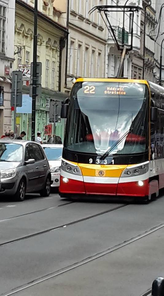 Een tram in Praag, Tsjechië