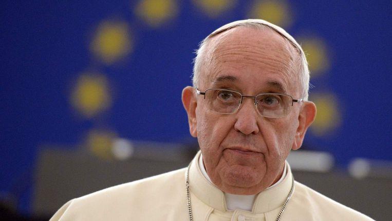Paus Franciscus in het Europees Parlement in Straatsburg, waar hij vorig jaar een toespraak hield. Beeld afp