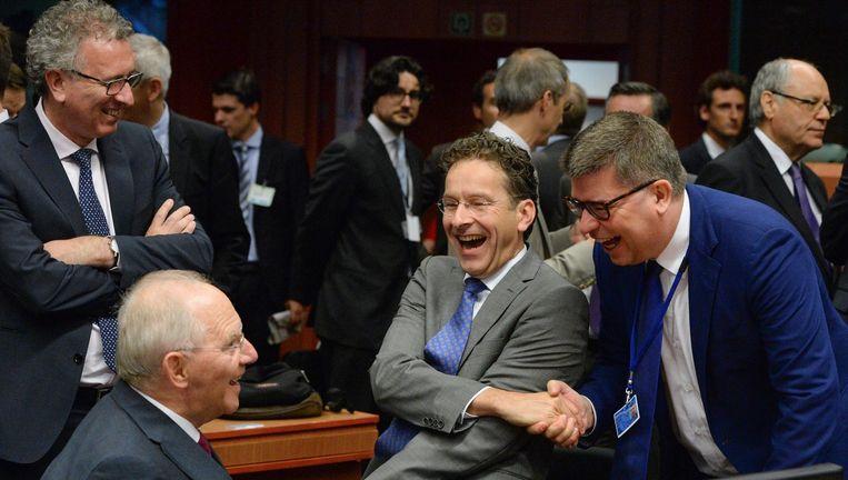 Dijsselbloem na zijn herbenoeming als voorzitter Eurogroep. Beeld EPA