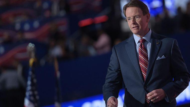 De conservatieve Republikein Tony Perkins sprak tijdens de Republeinse conventie. Beeld afp