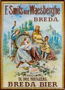 Een affiche uit 1960. In de reclame-uitingen werd vaak gebruik gemaakt van klassieke Bourgondische personages als de legendarische Cambrinus, de vorst van het bier.