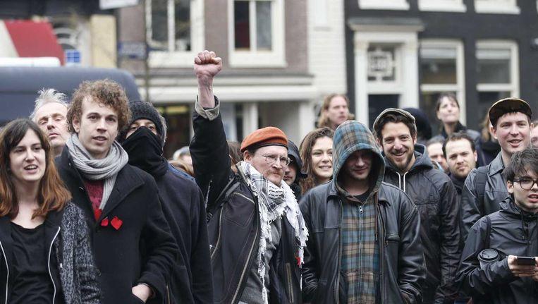 Studenten tijdens de ontruiming van het Maagdenhuis afgelopen zaterdag Beeld anp