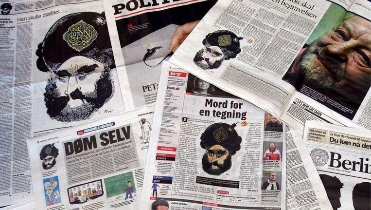 © ANP. Deense kranten die hebben geleid tot cartoonrellen. Beeld