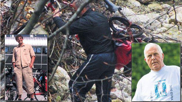 De fiets van Floris (inzet l.) werd gevonden. Jan (inzet r) reist zelf af om te zoeken naar zijn broer.