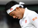 Kei Nishikori tijdens Wimbledon afgelopen zomer. Het is de vraag wanneer de Japanner hersteld is van zijn blessure.