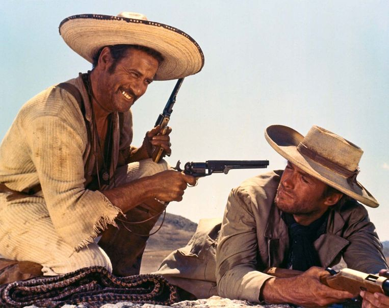 Eli Wallach en Clint Eastwood in 'The Good, the Bad and the Ugly' (Sergio Leone, 1966). Beeld