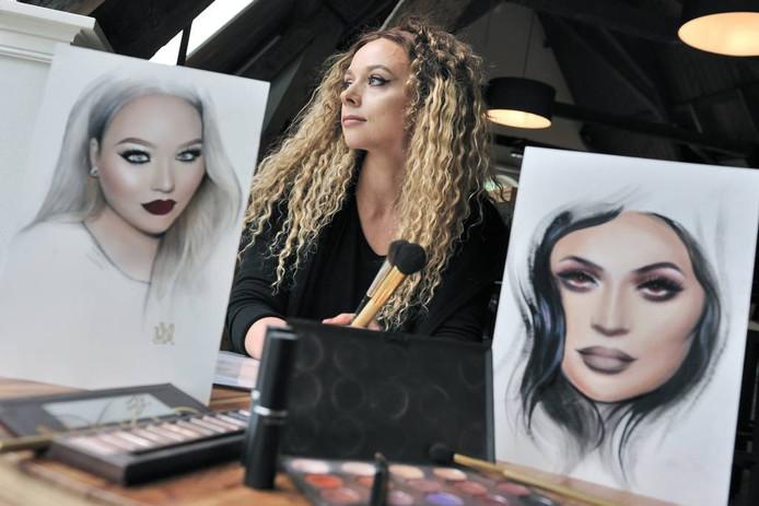 Liza Kondrevych gebruikt haar poederkwasten en penselen niet op de menselijke huid, maar op papier. foto peter van trijen/pix4profs