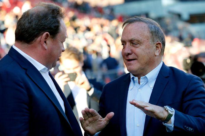 Leonid Sloetski en Dick Advocaat voor de wedstrijd.