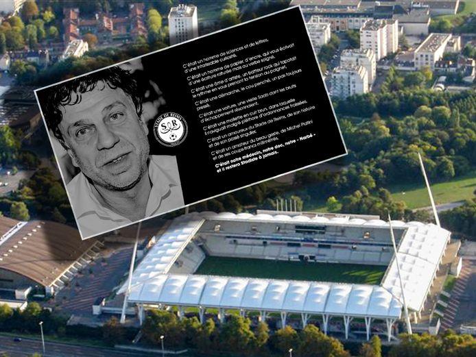 Stade Auguste Delaune van Reims. Inzet: de foto en de tekst bij de bekendmaking van het overlijden van clubarts Bernard Gonzalez.