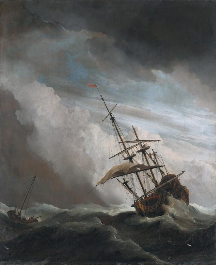 Het schilderij 'De windstoot' van Willem van de Velde II siert de cover van de roman 'De toevallige ontdekking van Paaseiland'