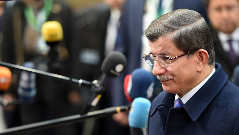 De Turkse premier Davutoglu vrijdag in Brussel. Beeld ap
