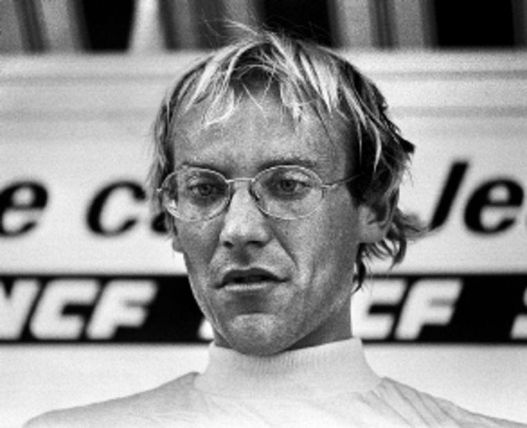 Laurent Fignon tijdens de Tour van 1984, die hij zou winnen. (FOTO AFP) Beeld AFP