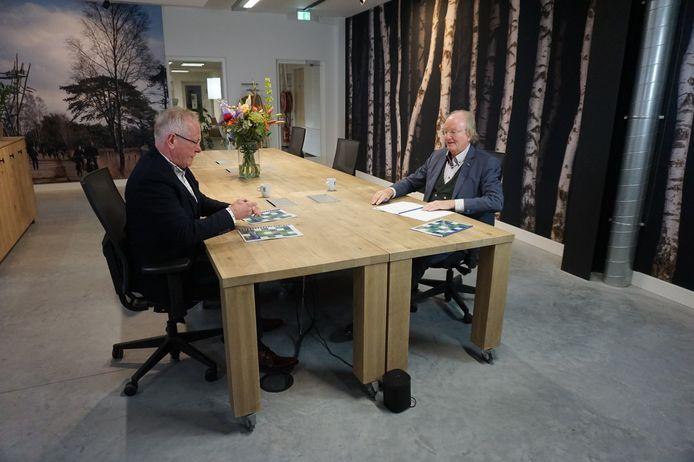 Wethouder Ted van de Loo (links) en René van Diessen (voorzitter van Ondernemend Hilvarenbeek) bekijken het EAP.