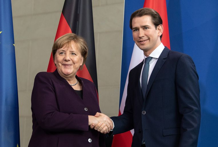 Merkel en Kurz begin deze maand in Berlijn.