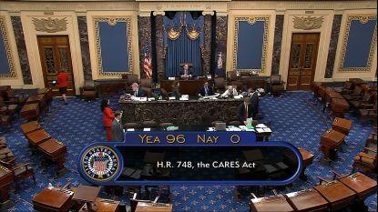 Amerikaanse Senaat stemt unaniem voor historische coronawet van 2.000 miljard dollar