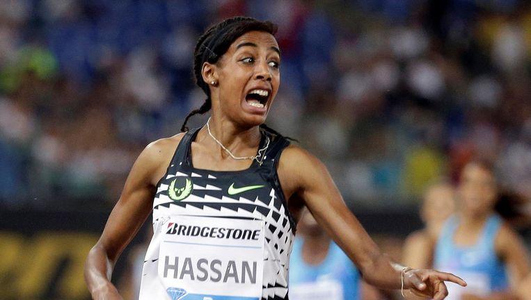 Sifan Hassan won in Italië donderdagavond met overmacht de 1.500 meter Beeld reuters