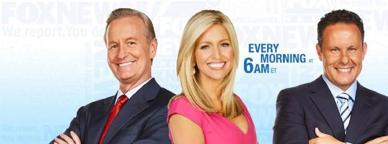 Het team van Fox & Friends. Deze ochtendnieuwsshow is een van de programma's die Trump elke dag trouw volgt. Het staat op de vijftiende plaats, qua kijkersaantal. Beeld null