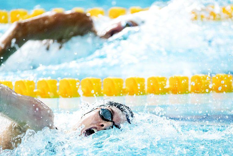 Femke Heemskerk op de 200 meter vrije slag finale tijdens het EK zwemmen. Beeld ANP