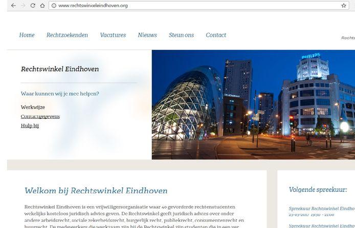 De website van stichting Rechtswinkel Eindhoven, met een nachtfoto van de Blob.