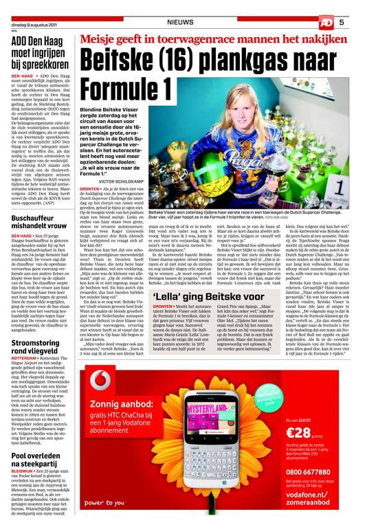 Acht jaar geleden: Beitske Visser kondigt aan: ik wil naar de Formule 1.